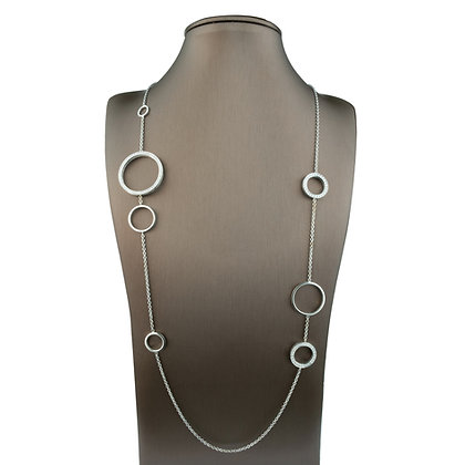 Sterling Silver Station Necklace with Diamond Simulants
