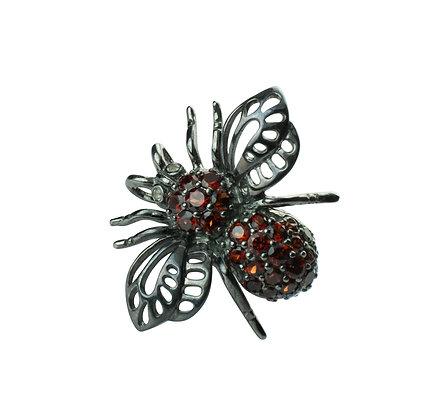 Sterling Silver Bee Pendant & Brooch with Garnet