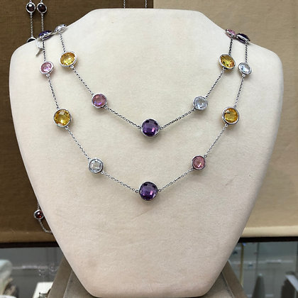 Sterling Silver Gemstone CZ Station Necklace