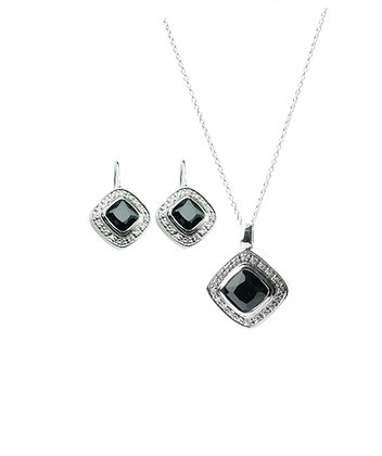 Sterling Silver Gemstone Earrings and Pendant