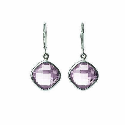 Sterling Silver Double Checkerboard Cut Amethyst Dangle Earrings