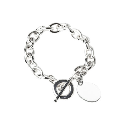 Sterling Silver Oval Bracelet with Round Tag
