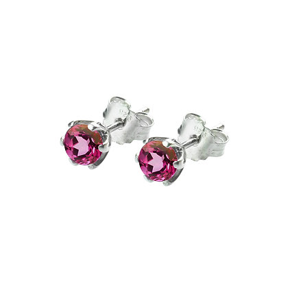 Sterling Silver Round Pink Topaz Earrings- 5 MM