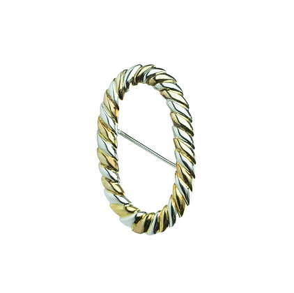 Sterling Silver Brooch - Yellow Gold and Rhodium Plated