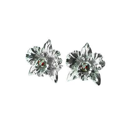 Sterling Silver Garnet Orchid Flower Earrings