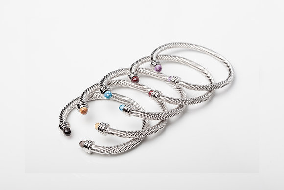 Sterling Silver Cable Bangle - Thick
