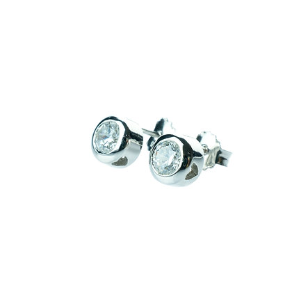 Sterling Silver Diamond Simulant CZ Earrings - 5.5 MM Bazel Set