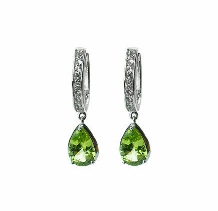 Sterling Silver Peridot and White Topaz Dangle Earrings