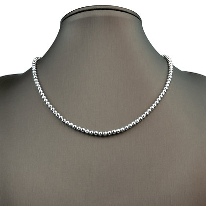 Sterling Silver Bead Necklace - 4 mm