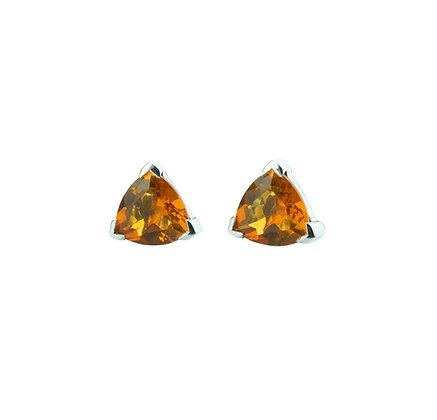 Sterling Silver Triangle Citrine Earrings- 8 MM