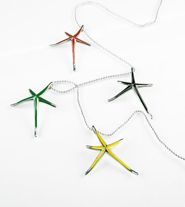 Sterling Silver Colorful Starfish Pendant