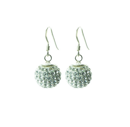 Sterling Silver Diamond Simulant Crystal Earrings - Large Dangle