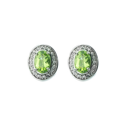 Sterling Silver Peridot with White Topaz Halo Earrings