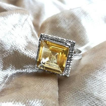 Citrine Square Cut Ring