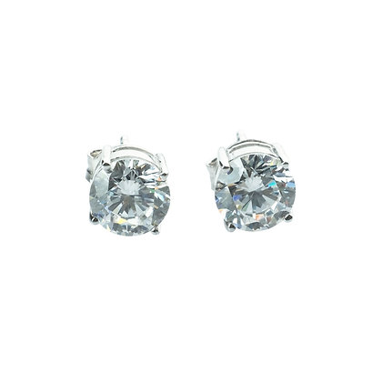 Sterling Silver Diamond Simulant CZ Earrings - 6.5 MM