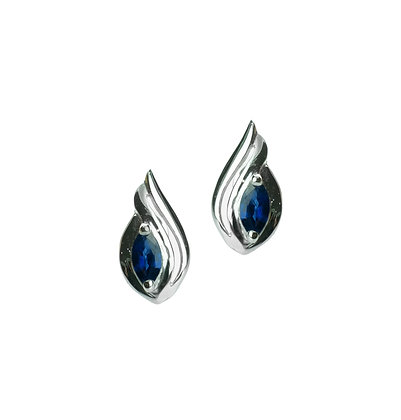 Sterling Silver Blue Sapphire Earrings