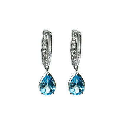 Sterling Silver Swiss Blue Topaz and White Topaz Dangle Earrings