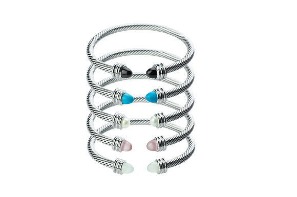Sterling Silver Cable Bangle - Thin