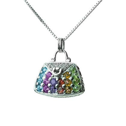 Sterling Silver Multicolored Gemstones and Diamond Simulant Handbag Pendant