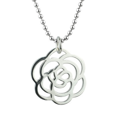 Sterling Silver Rose Pendant - Large