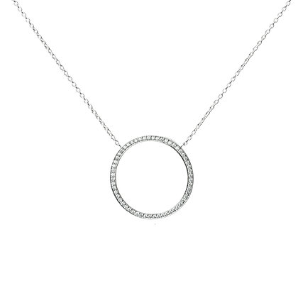 Sterling Silver Diamond Simulant Circle Pendant