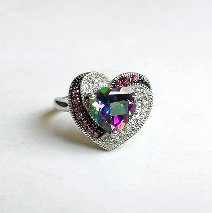 Multicolor Topaz Heart Shaped Sterling Silver Ring