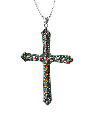 Sterling Silver Large Garnet and Marcasite Cross Pendant