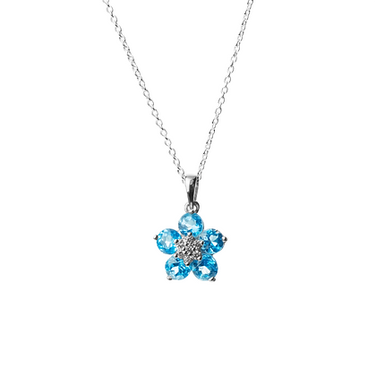 Sterling Silver Blue Topaz with Diamond Simulant Pendant