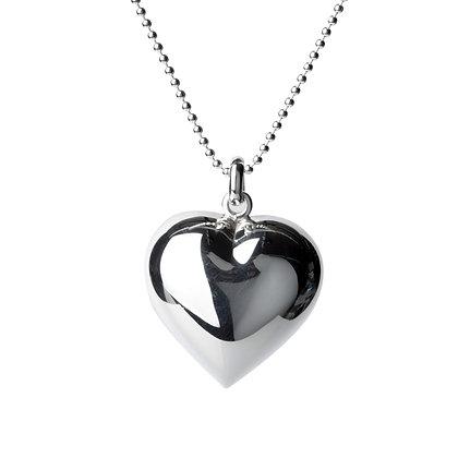 Sterling Silver Smooth Puffed Heart Pendant - Large