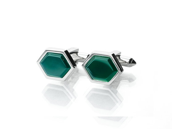 Sterling Silver Green Onyx Cufflinks