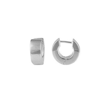 Sterling Silver Wide Huggie Earring - Flat