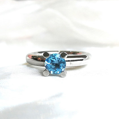 Handmade Sterling Silver Ring With Blue Topaz