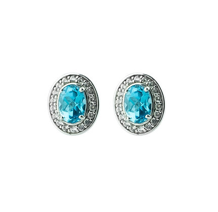 Sterling Silver Swiss Blue Topaz with White Topaz Halo Earrings