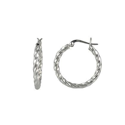 Sterling Silver Twisted Hoop Earrings - Small