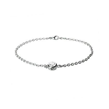 Sterling Silver Diamond Simulant Minimal Bracelet