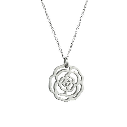 Sterling Silver Rose Pendant - Small