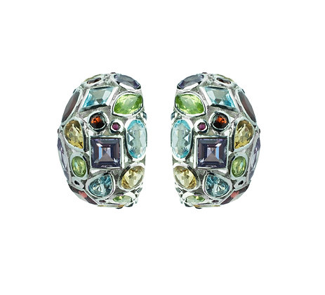 Sterling Silver Multicolored Gemstone Clip On Earrings