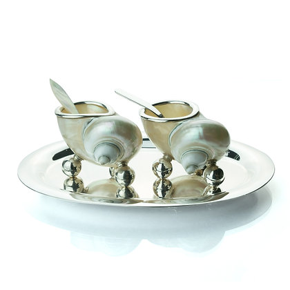 Sterling Silver Salt and Pepper Shell Set with Tray