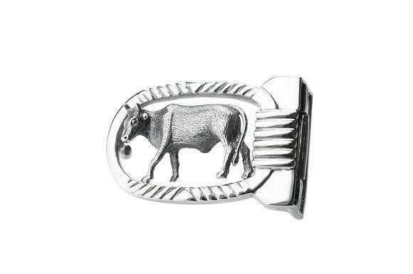 Sterling Silver Cow Belt Buckle