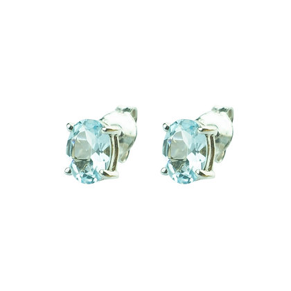 Sterling Silver Oval Aquamarine Earrings - 7x5 MM