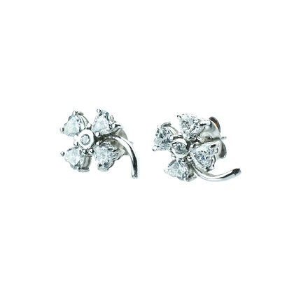 Sterling Silver Clover Earrings with Diamond Simulant CZ