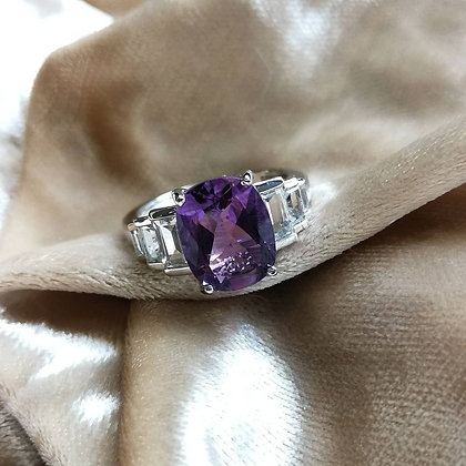 Cushion Cut Amethyst Ring With White Topaz