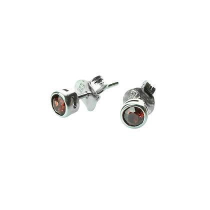 Sterling Silver Bezel Set Garnet Earrings