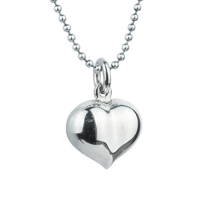 Sterling Silver Puffed Heart Pendant - Large