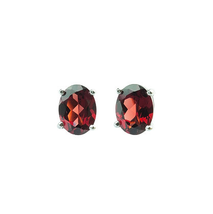 Sterling Silver Oval Garnet Earrings- 8x6 MM