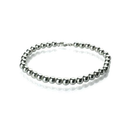 Sterling Silver Bead Bracelet - 6 mm