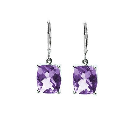 Sterling Silver Checkerboard Cut Amethyst Dangle Earrings