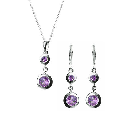 Sterling Silver Amethyst Earrings and Pendant