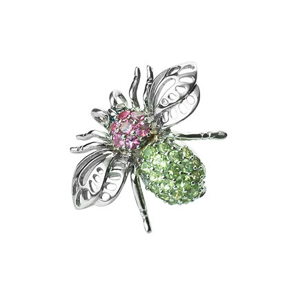 Sterling Silver Bee Pendant & Brooch with Pink Tourmaline and Peridot