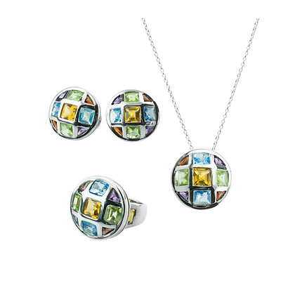 Sterling Silver Multicolored Ring, Earrings, and Pendant